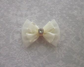 Ivory Satin Organza Shimmer Tulle Hair Bow, Pearl Rhinestone Gold Silver, Handmade, Flower Girl, Wedding Hair Accessory, Cream, Eggshell