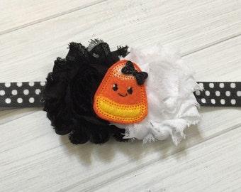 Halloween headband, halloween baby headband, flower headband, candy corn headband, candycorn, halloween bow