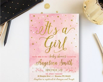 It's a Girl Invitation, Girl Baby Shower, Pink Shower Invite, Pink and Gold, Baby Girl Watercolor, baby, Free Thank You Card, free back, GO