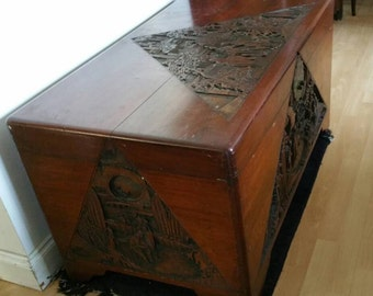 Large Antique Chinese Handcarved Camphor Wood Blanket Chest