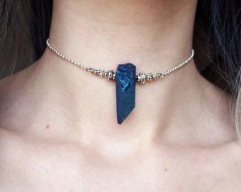 Raw Crystal Choker Necklace Crystal Necklace Gemstone Choker Necklace Quartz Necklace Ornate Gem Necklace Silver Choker Boho Grunge Jewelry