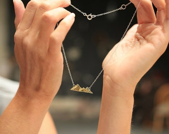 Mountain Necklace / Mountain Range / Sterling Silver & Brass / Delicate / Winter / Seasonnaire / Simplistic / Layered Necklace