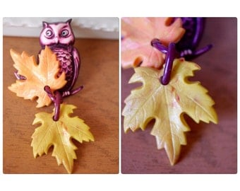 Celluloid Owl Brooch with Leaves