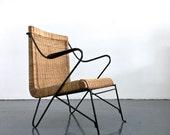 Rare Italian Iron Wicker Rattan Lounge Chair Armchair Mid Century Modern 1950's