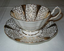 Queen Anne Bone China, Made in England, Tea Cup and Saucer Set, Gold Trim, White and Gold Set, Gold Lace, Gold Vine
