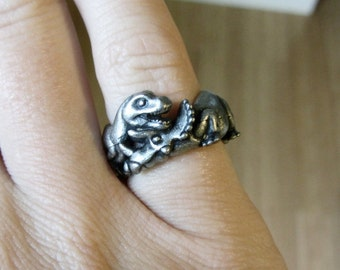 Battling Dinosaurs Ring - T-rex and Triceratops, Dinosaur Jewelry