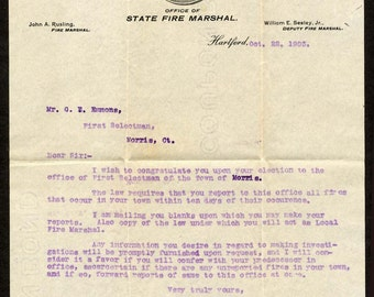1903 Connecticut State Fire Marshal John Rusling letter to First Selectman of Morris, CT