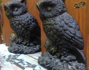 BookEnds, Made Of Coal, Book Ends,  Set Of Bookends, Owl BookEnds, Owls, Bookends, Bird Lover, Vintage BookEnds,