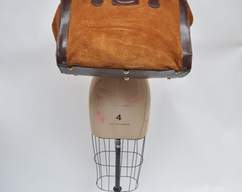 vintage leather bag CARRY ON weekender luggage suitcase travel duffel duffle suede