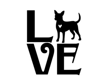 Love Chihuahua Pet Vinyl Decal Car Sticker Pet Decals