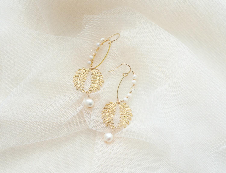 Brautschmuck ohrringe gold  Braut Ohrringe Gold Ohrringe Blatt und Perlen Ohrringe Gold
