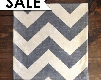 CLEARANCE: Chevron Pillow Cover 18 x 18 Inch - Blue Chevron