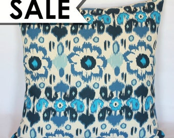 CLEARANCE: Navy Blue Pillow Cover 24 x 24 Inch - Ikat - Navy, Indigo, Blue, Off-White Pillow Cover
