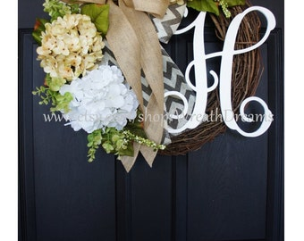 Antique White & White Hydrangea Wreath. Year Round Wreath. Spring Wreath. Summer Wreath. Door Wreath. Burlap Wreath. Grapevine Wreath.