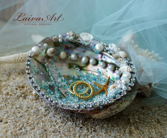 Seashell Wedding Ring Bearer Pillow Ring Holder Beach Wedding