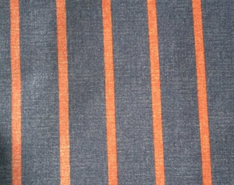 Denim Blue Nautical Red Orange Stripe By The Half Yard Fabric