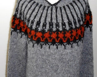 Lopapeysa with a hood  - Iceland original sweaters hand-knitted
