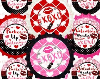 "Pucker Up Valentines 1"" Bottlecap Image on 1 JPG INSTANT DOWNLOAD"