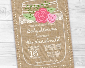 Rustic Mason Jar Burlap Baby Shower Bridal Shower Invitation-Girl Baby Shower- Rustic Lace Floral Vintage Shabby Chic-Digital and Printable