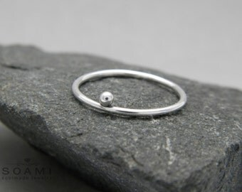 925 sterling silver delicate one ball ring , slim silver ring, thin silver ring, silver ring with ball