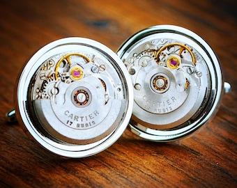 Cartier Watch Movement Cufflinks Vintage