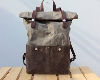 Waxed Canvas Backpack Roll top with natural or brown leather details, Waxed Canvas Rucksack Rolltop, olive , personalized