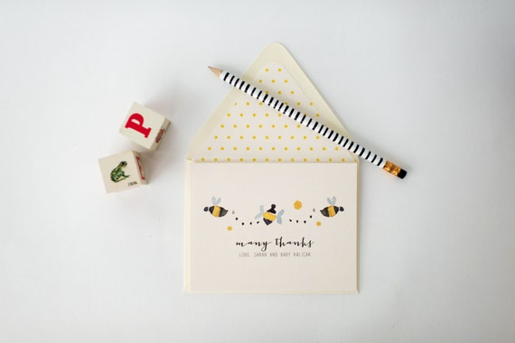 bees personalized baby shower thank you cards +  lined envelopes (sets of 10)  // lola louie paperie