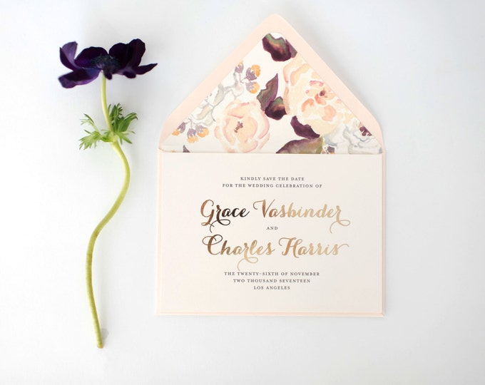 grace gold foil save the date invitations + lined envelopes (sets of 10)  //  lola louie paperie