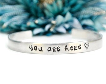 You Are Here Long Distance Relationship Bracelet | Gift For Her | Girlfriend Gift | Aluminum Bracelet | Hand Stamped Jewelry