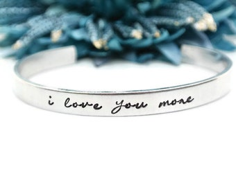 I Love You More Hand Stamped Bracelet | Hand Stamped Jewelry | I Love You More Bracelet | Gifts For Her | Girlfriend Gift | Aluminum Jewelry