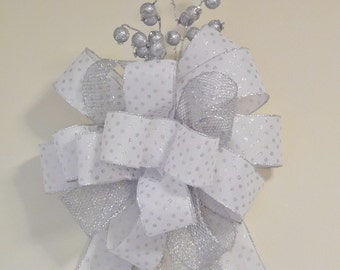 White And Silver Christmas Tree Bow, White Tree Topper, Sliver Christmas Bow, Wedding Decoration, Silver Polka Dot Bow, Wreath Bow