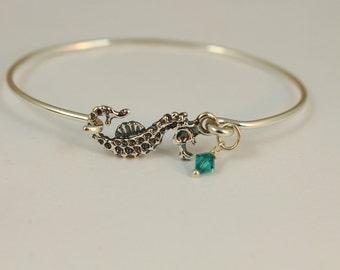Seahorse bangle bracelet, Sterling silver sealife bracelet