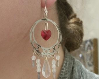 Swarovski Crystal Heart Chandelier Earrings in Clear or Black, Bright Silver Dangle, Light Weight, Big Hoops, Valentines Gifts Women, Love