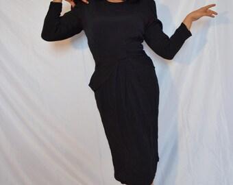 Vintage 1970s does 1940s Black Dress!