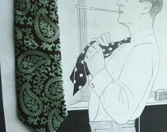 Tie Altea Milano woven Brocade dark brown and Mint Green