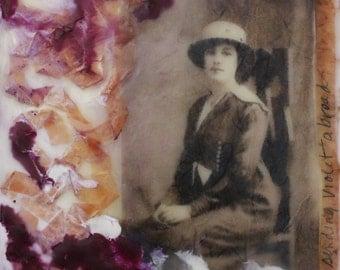 "mixed media art - encaustic collage - Edwardian Woman - ""Sending Violet Abroad"" - gift for women - original photo collage art - nostalgia"