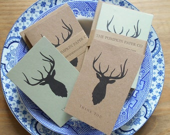 Thank You Note Cards with envelopes & Stag Deer print. Mini cards with envelopes, gift cards 10pk Vintage Rustic recycled kraft card