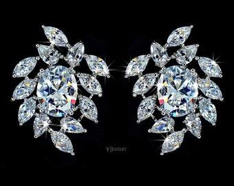Flower Cubic Zirconia Wedding Earrings Large Stud Earrings Bridesmaid Crystal Earrings Bridal Floral Earrings CZ Diamond Earrings - AE0031