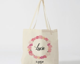 W36Y Tote bag weeding, Crown flowers, customizable bag, tote bag evjf bag in cotton, bag, shopping bag, gift for Bridesmaid