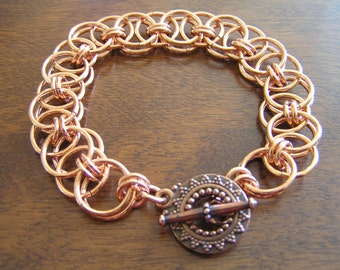 Copper Helm Weave Bracelet, Chainmail Solid Copper Helm Weave Bracelet, Copper Bracelet, Parallel Weave Bracelet, Copper Helm Weave Bracelet