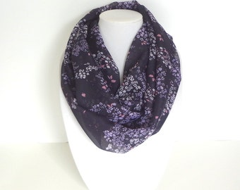 Purple Infinity Scarf, Floral Scarf, Fashion Scarf, Spring Scarf, Lightweight Scarf, Mother's Day Gift