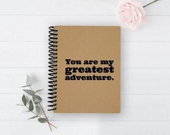 Spiral Notebook - Greatest Adventure - 100% Recycled and Handmade - Blank Book - Kraft Journal - Sketchbook - Spiral Journal - Writing Pad