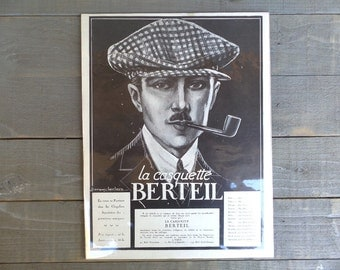 Original Vintage  French 1930 Man Fashion print.  advertising  print for a Antique Mark of Cap. Ready to Frame.