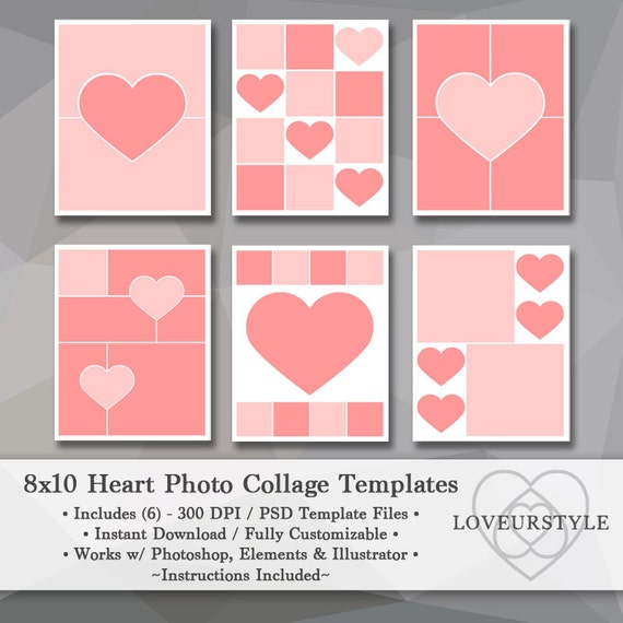 8x10 photo template pack heart templates photo collage. Black Bedroom Furniture Sets. Home Design Ideas