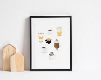 Coffee Cups Art Print, 6x8 Print, Coffee Print, Kitchen Art, Wall Decor, Coffee Watercolor Print