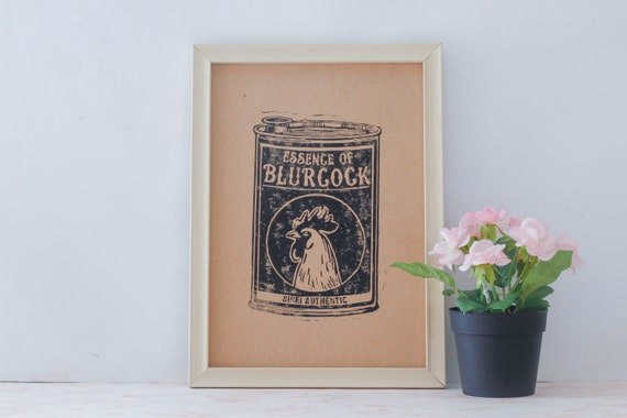 "Vintage Inspired Linocut Poster ""Essence of Blurcock"" Singapore Handmade Linocut Print"