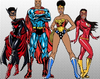 Super Hero Family Portrait in the POP ART style / Custom Portrait Illustration / Custom Background / For Digital Use and Personal Print