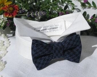 Bow Tie Dog Collar~Navy&Blue Houndstooth~Wingtip Tuxedo Collar~Dog Wedding Collar~Wedding Dog Attire~Dog Ring Bearer~Dog Shirt Collar~Autumn