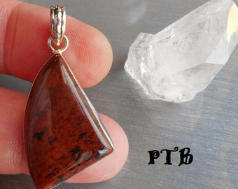 "Remove Energy Blocks ~ Authentic Natural Mahogany Obsidian Gemstone 1 1/2"" Pendant 925 Sterling Silver"