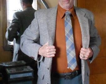 Man's Vintage Fogey Blazer Houndstooth Tweed Size 40 L 1980's Stafford 100% Scottish Wool Gentleman Attire
